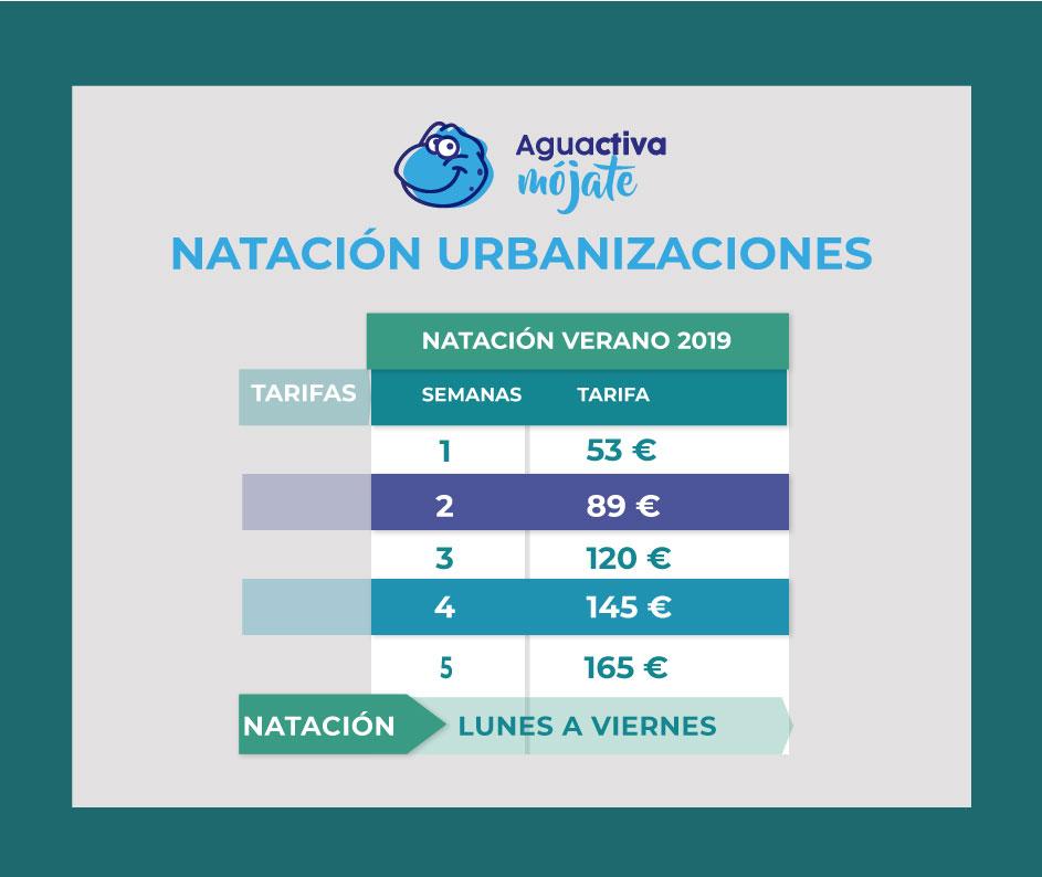 horarios y precios escuela acuática aguactiva 2019
